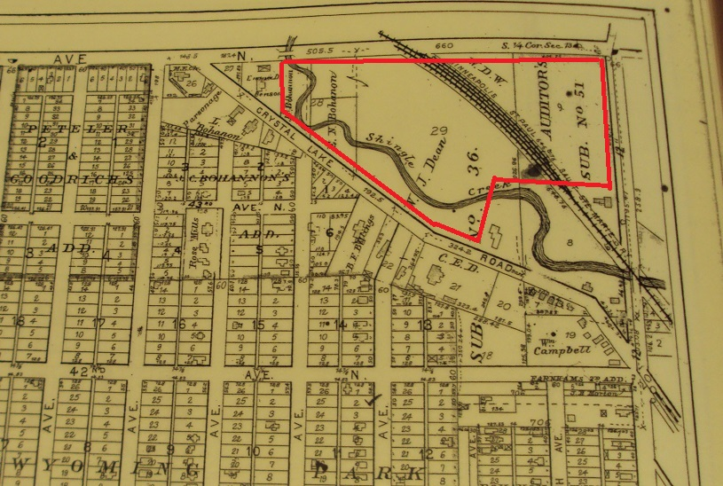 1898 plat map of the area west-northwest of 42nd, Lyndale and Washington avenues. The Camden Park Golf Club site? Probably.