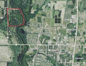 2013 aerial photo of Isanti and area to the northwest. The former Bar L Ranch Club grounds are within the red circle. Photo courtesy of Minnesota Department of Natural Resources.