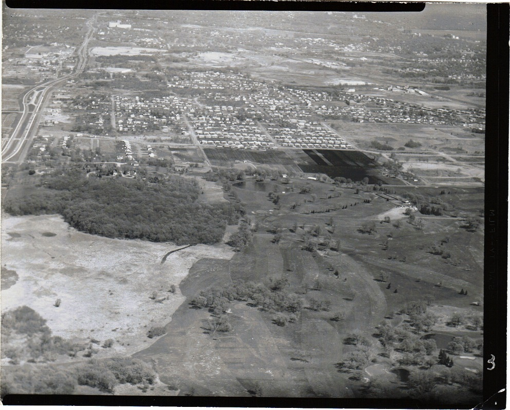 Westwood Hills, aerial view. Top of photo is east; left of photo is north. Large, open area on the left is now Westwood Lake, which was not a lake until the 1960s. The holes at the extreme right of the photo, with bunkers on them, I believe are part of Minneapolis Golf Club.